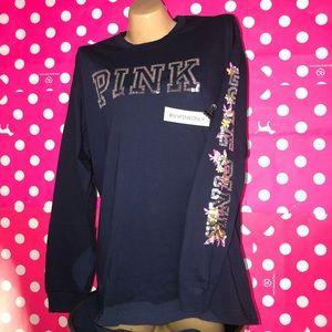 VS PINK Bling Long Sleeve Tee / Blue